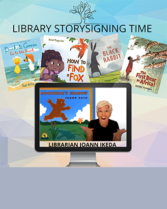 Librarian Joann Ikeda signing stories in ASL