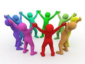 a photo graphic of multi-colored figures with arms raised and hands clasps together in a circle