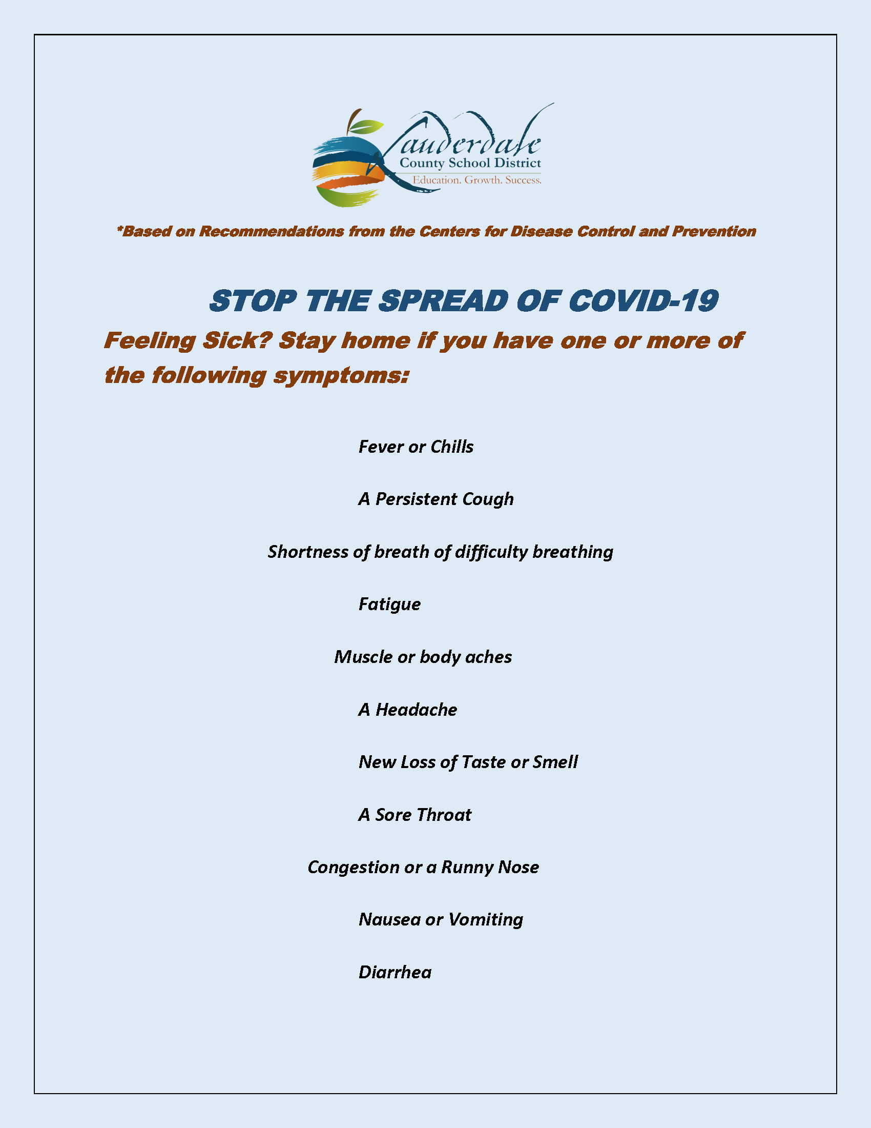 COVID Prevention When To Stay Home Flyer