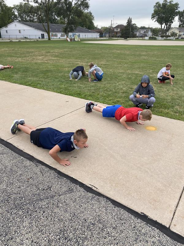 Doing pushups at CCIS