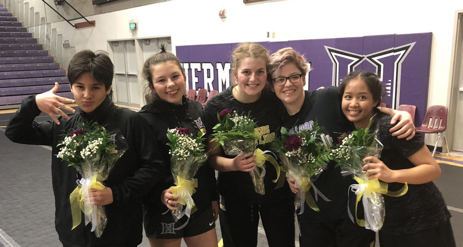 Senior Night for female wrestlers.