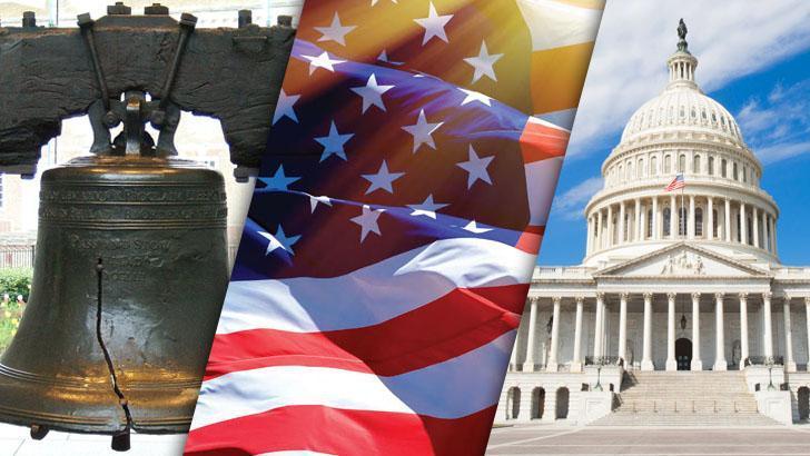 Liberty Bell, US Flag, Capitol Building