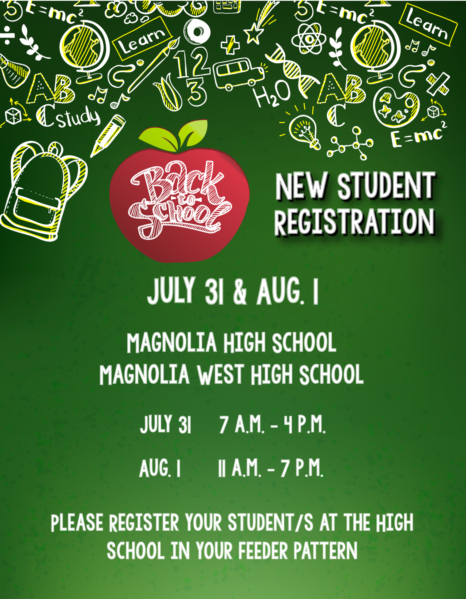 New Student Registration takes place on July 31 and Aug. 1