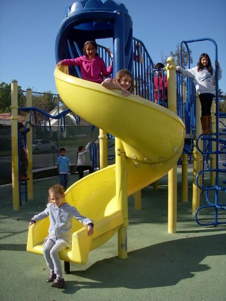 Students on slide.