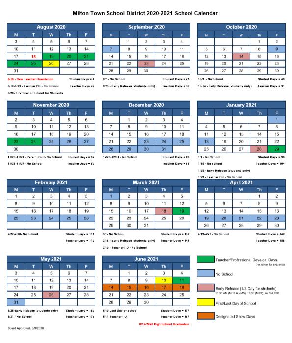 20/21 MTSD School Calendar