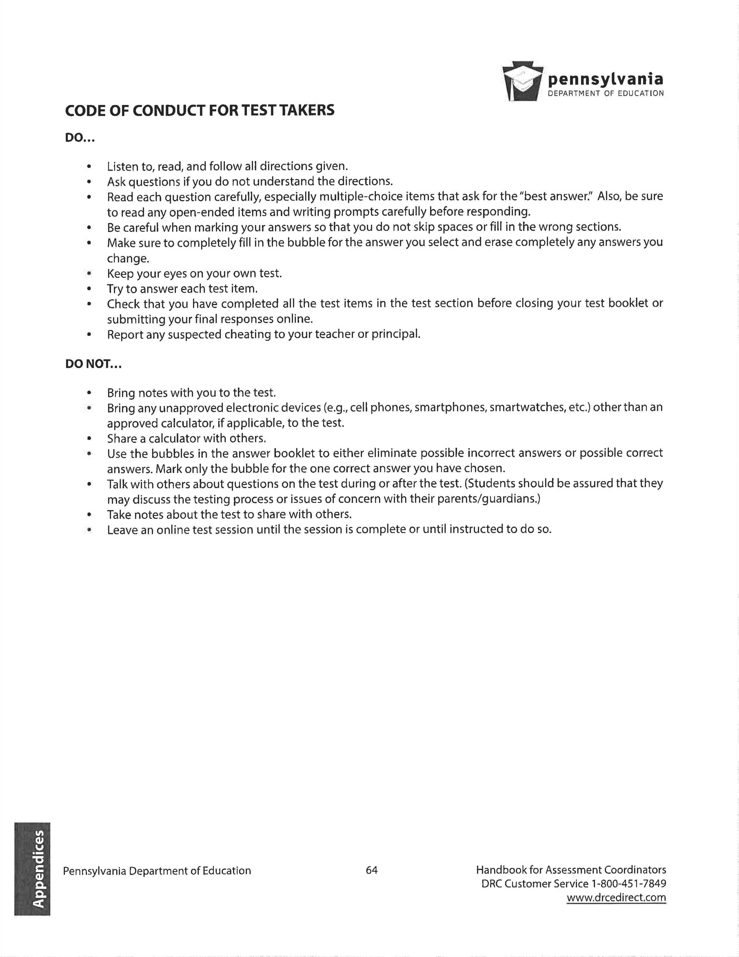 PSSA Code of Conduct for test takers