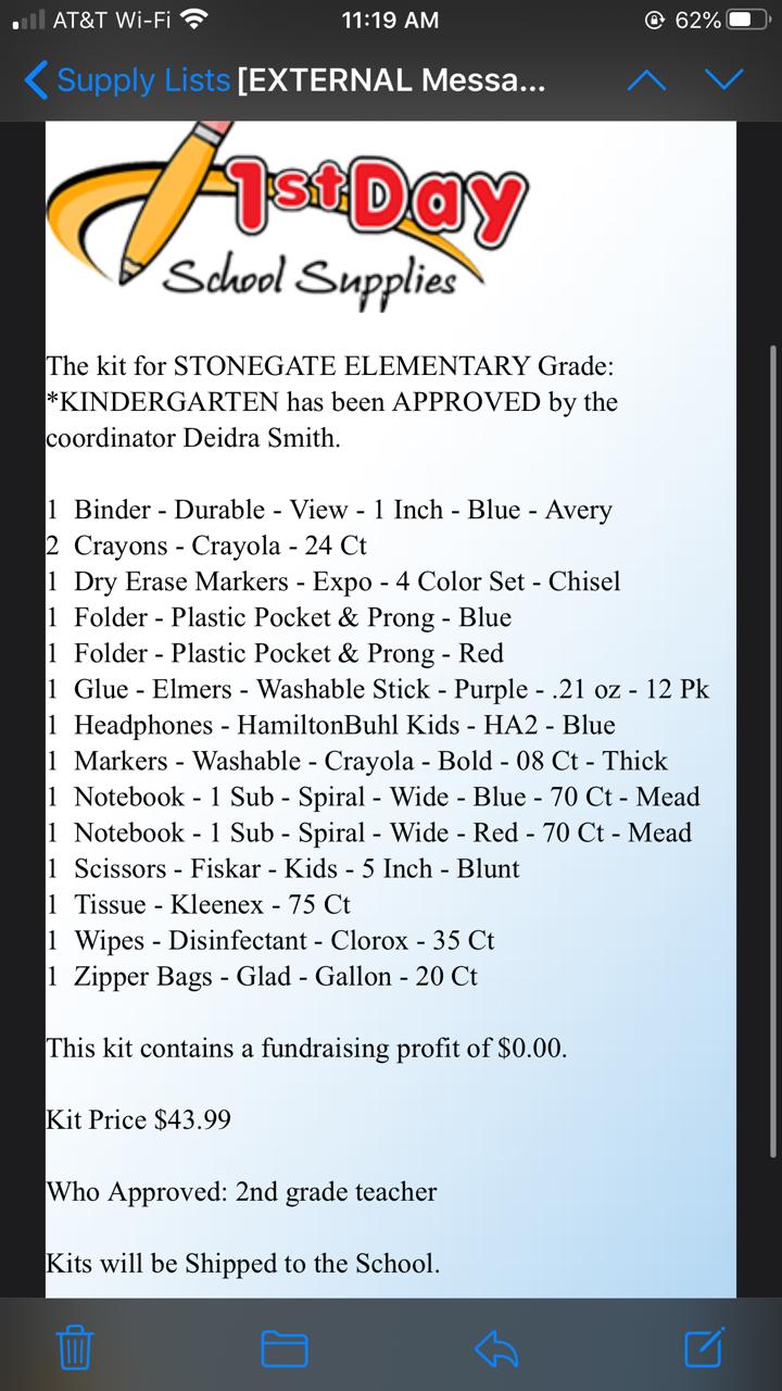 Kindergarten Supply List 20-21