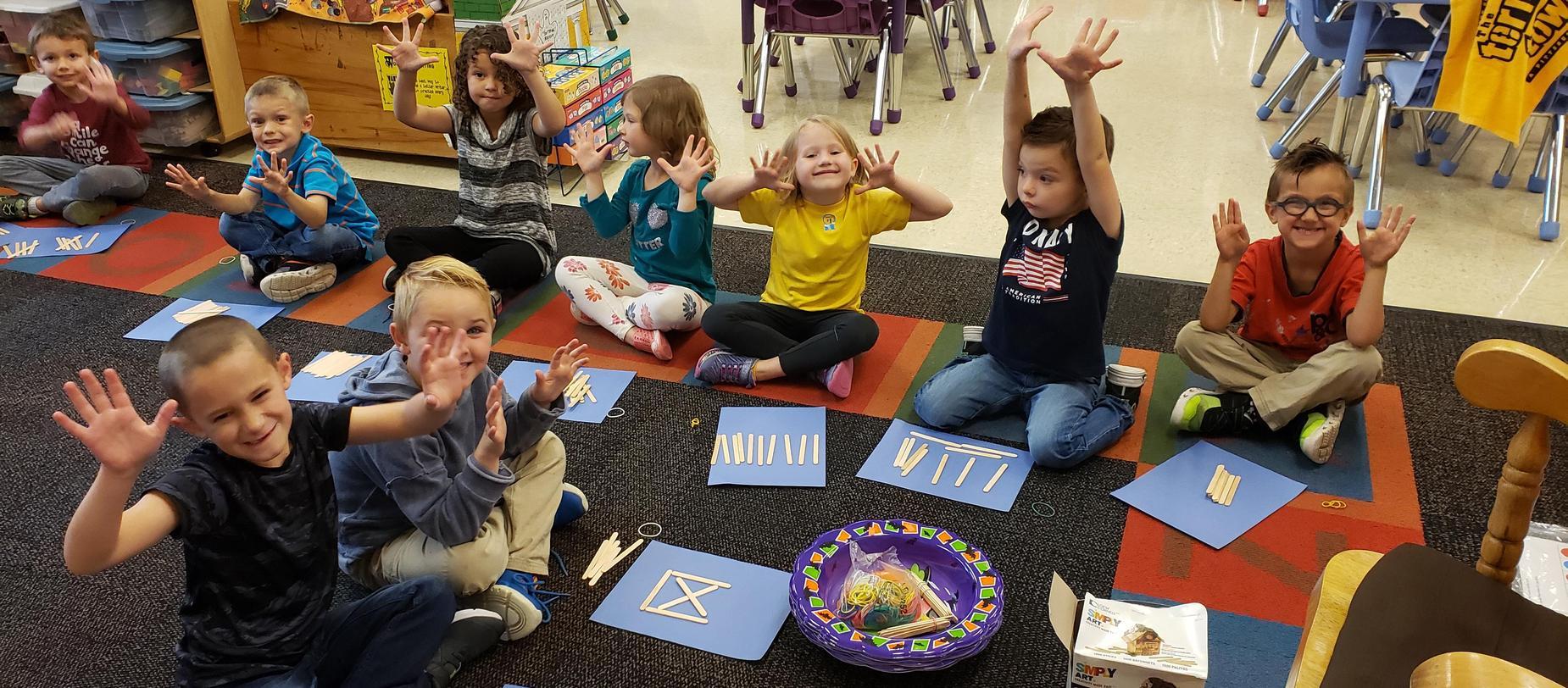 kindergarten students counting