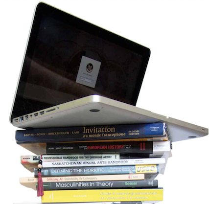 Textbooks, and laptop