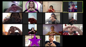 Mrs. Rodriguez class sending virtual love collage