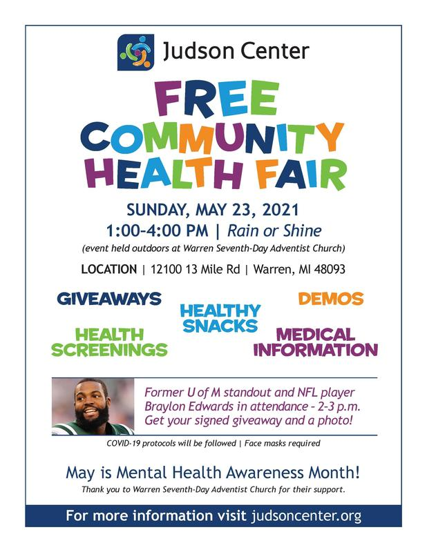 FREE Community Health Fair ~ May 23, 2021