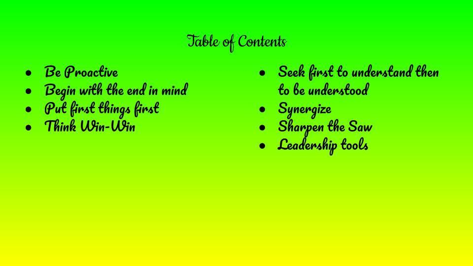 7 habits table of contents