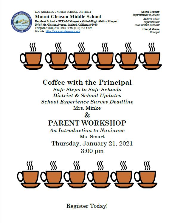 Coffee with the Principal January 21