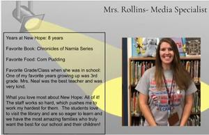 Picture included of when Ms. Rollins was recently featured on New Hope's Facebook page.