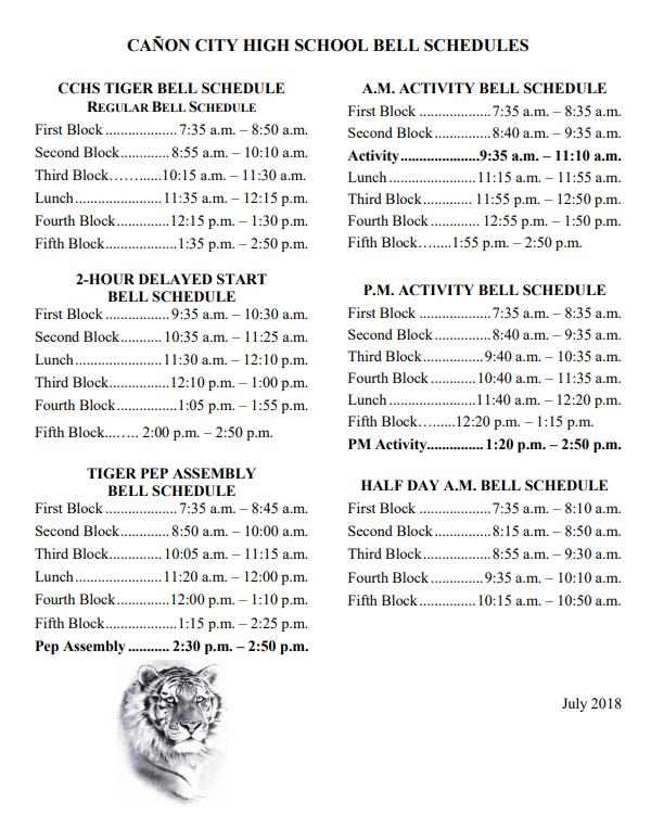 CCHS Bell Schedule