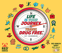 Red Ribbon Week Log - Life Is Your Journey - Travel Drug Free