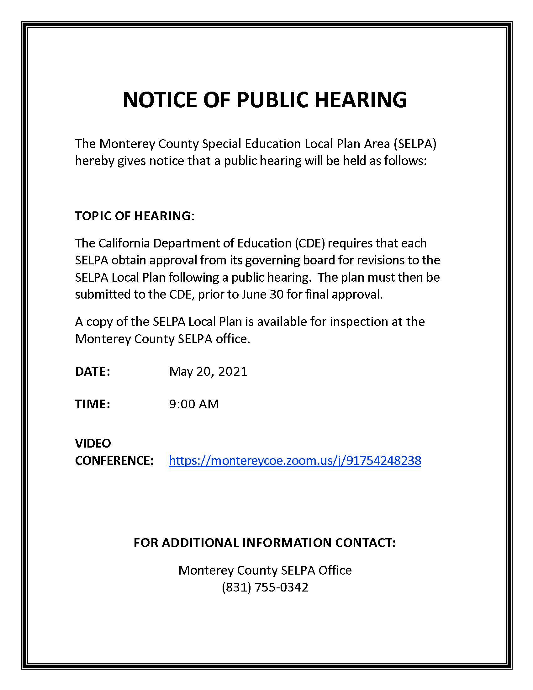 English SELPA Public Hearing Flyer