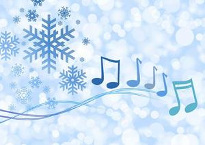 Winter background with music notes image