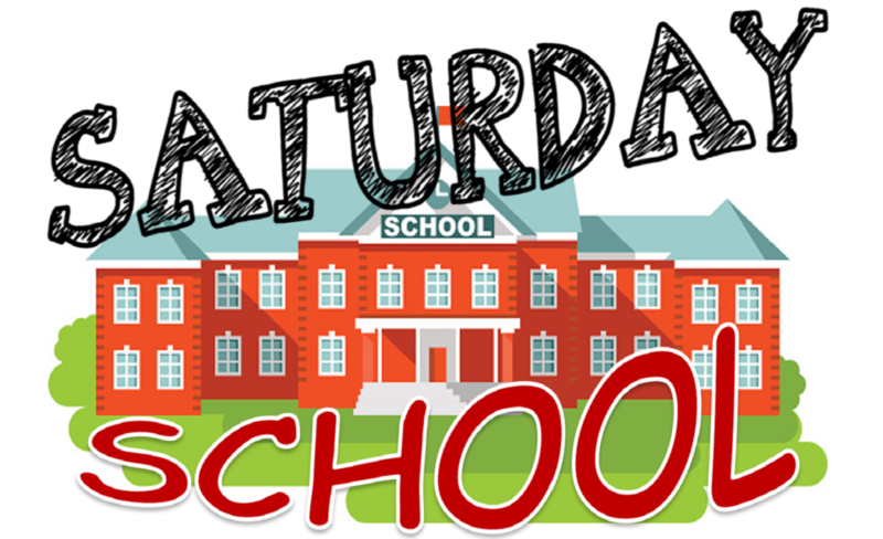 There is a drawing of a school with the words Saturday School.
