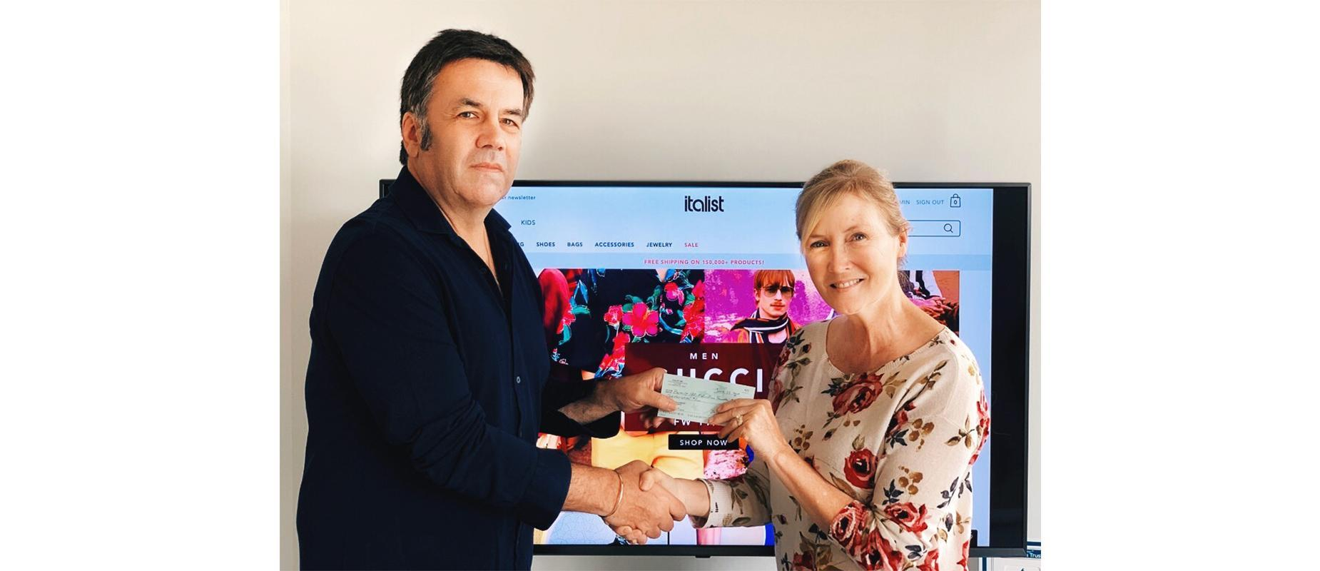 Diego Abba, CEO of Italist.com, presenting a business sponsorship donation check to BHEF President, Cindy Trost!