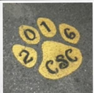 Parking lot paw with initials