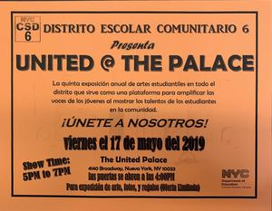 orange flyer for United @ The Palace in Spanish