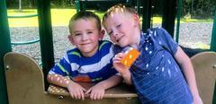 Kindergarten boys on playground
