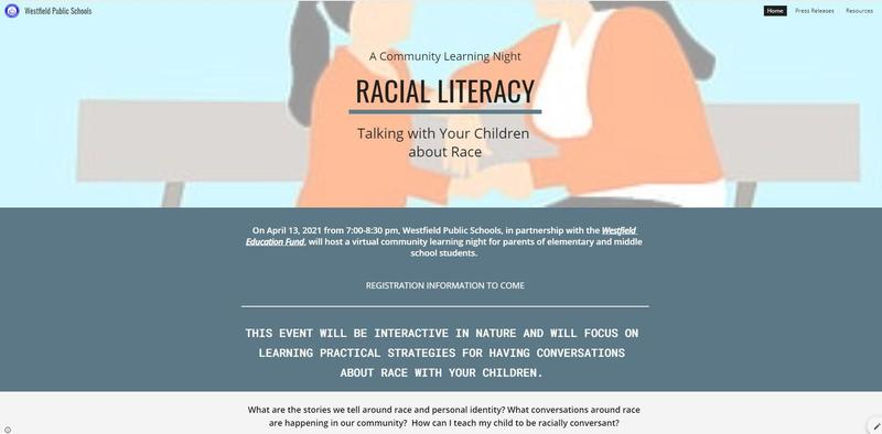 Screenshot of Racial Literacy website