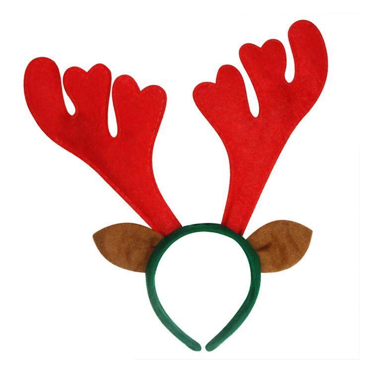 Reindeer holiday headband, red antlers and brown deer ears on headband.