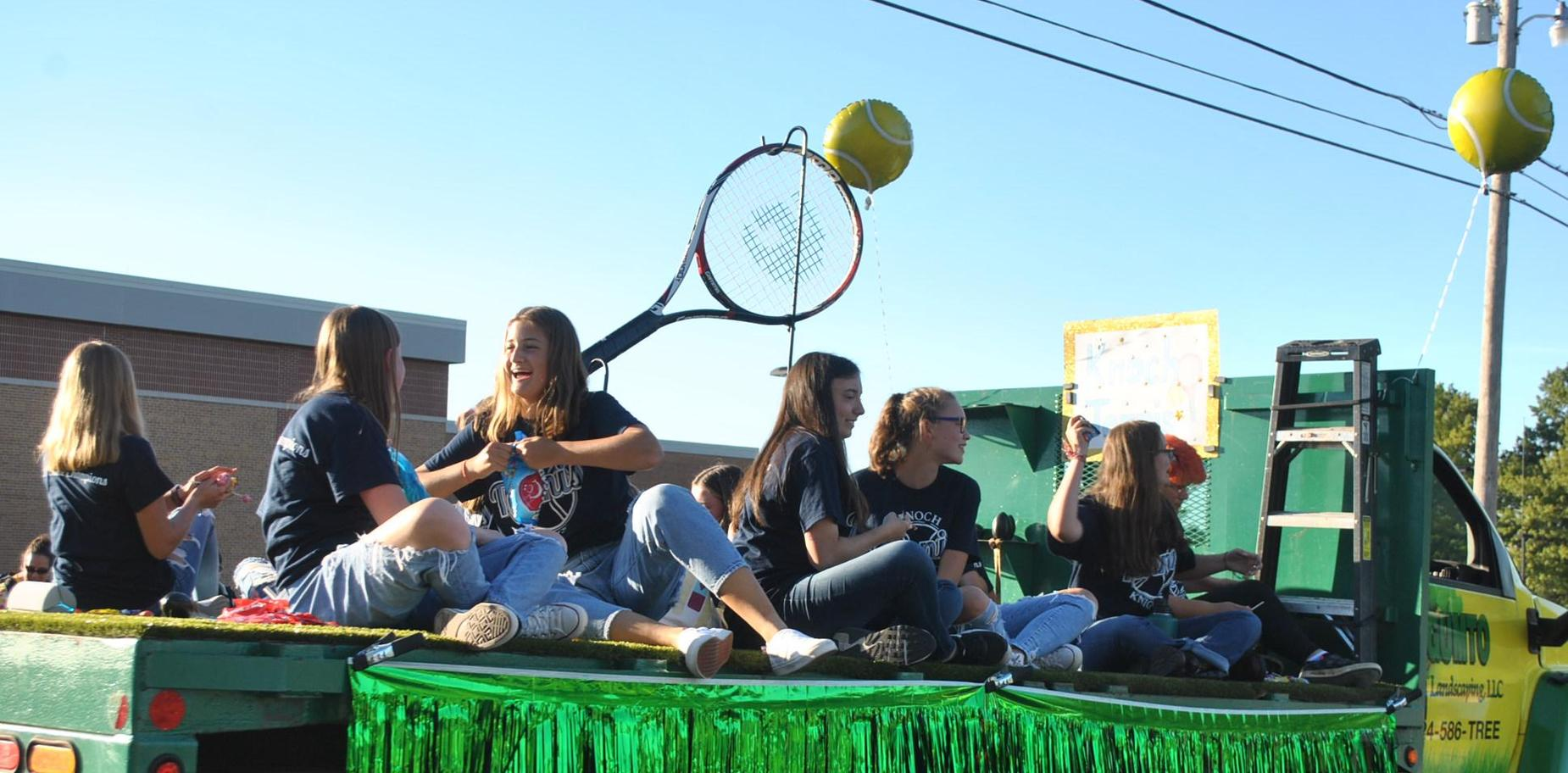students in parade