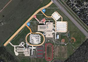 arial view of cade middle school and victoria west high school