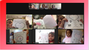 Zoom class showing valentine's drawings