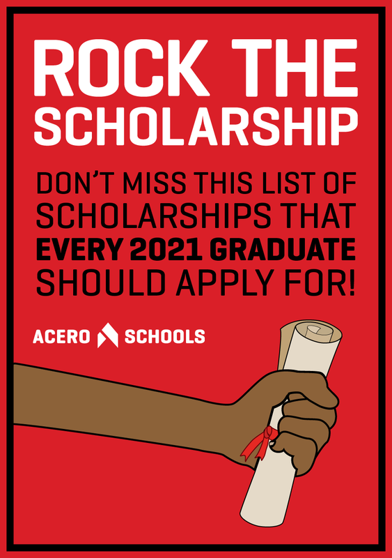 Rock the Scholarship Graphic. Scholar Holding Achieved Diploma