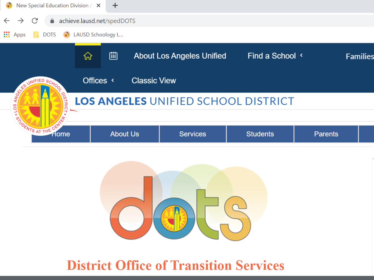 LAUSD District Office of Transition Services Website