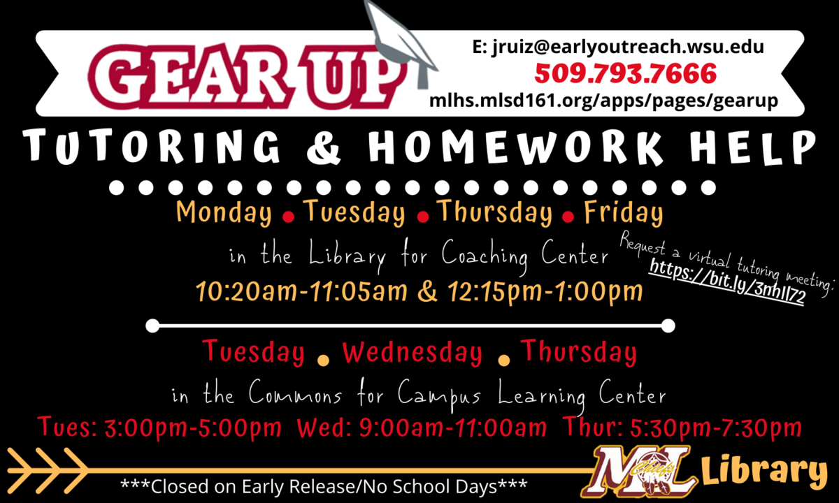 GEAR UP Tutoring Days and Times