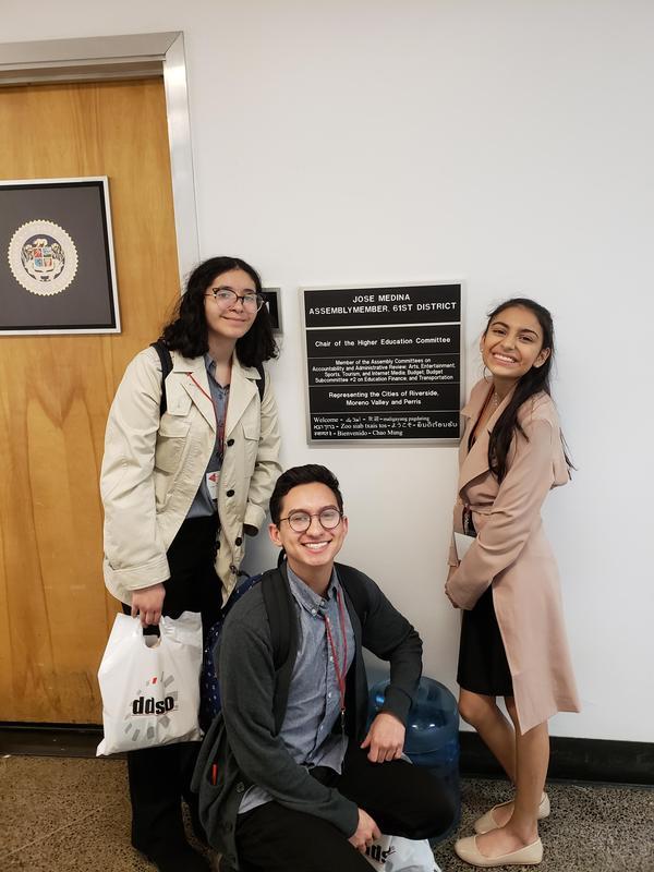 Yasmin Farias, Bianca Fuentes, and Mitchell Calderilla VVHS Students posing in front of California Representative Jose Medina's office