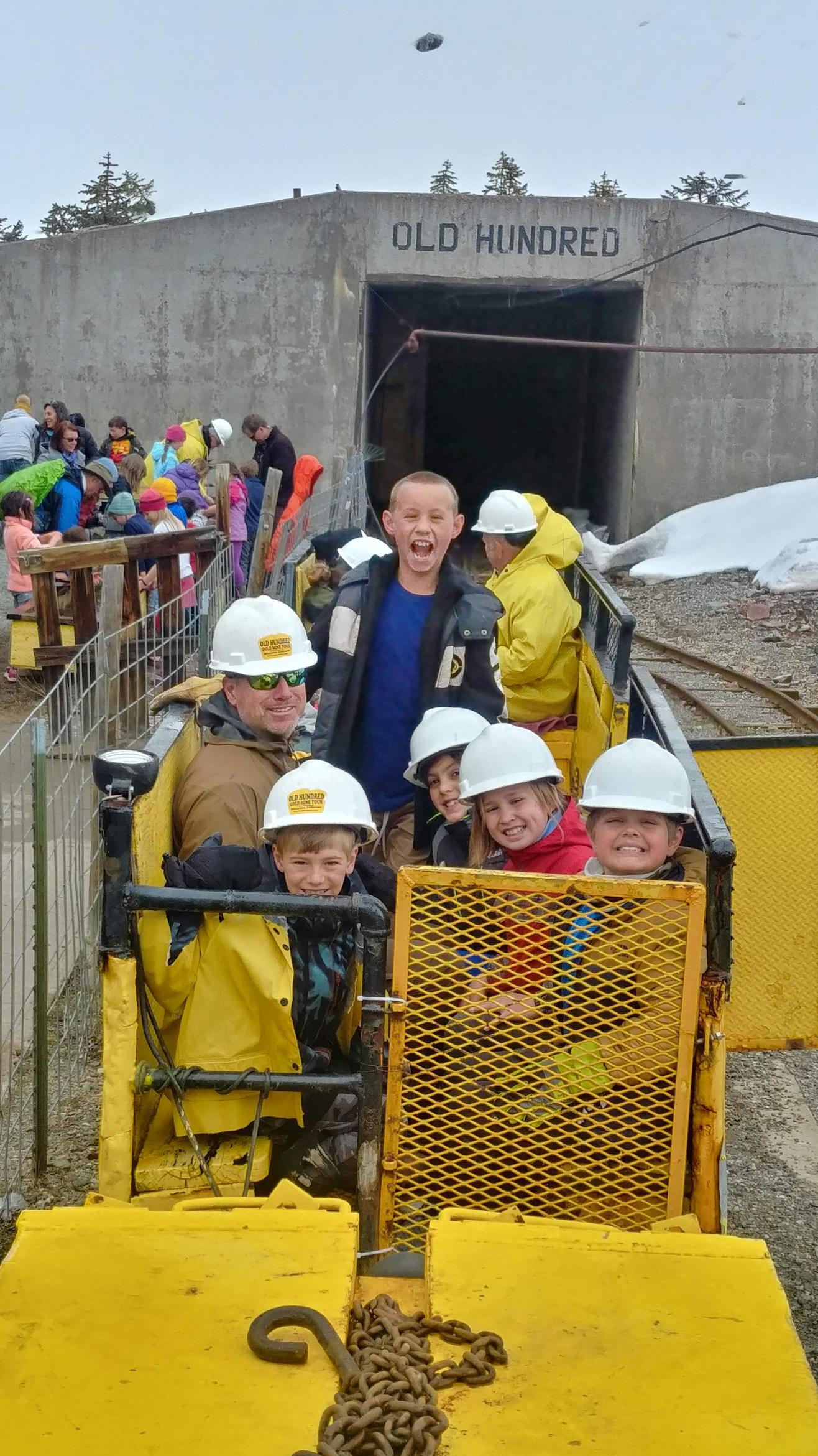 In the cart and ready to enter the mine