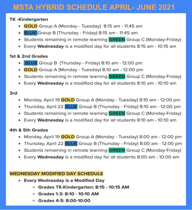 Hybrid Schedule April - June 2021