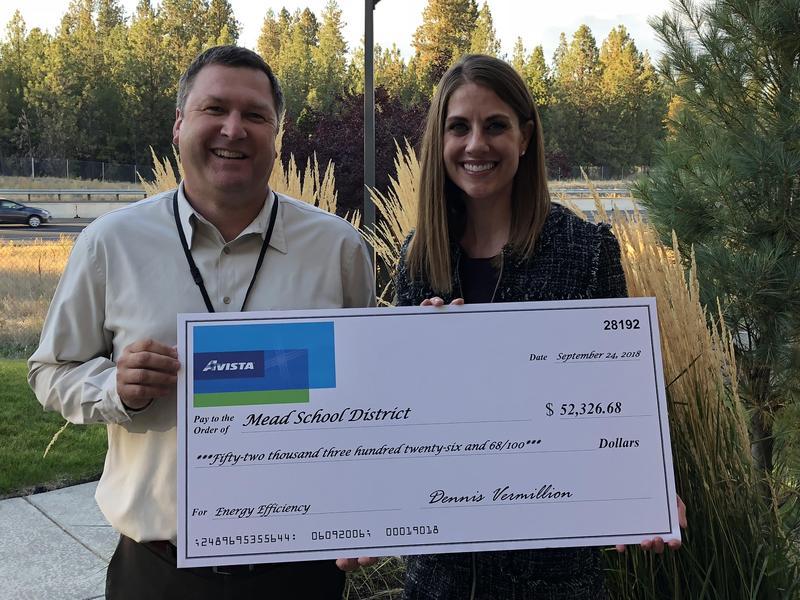 Avista rebate check for Mead School District