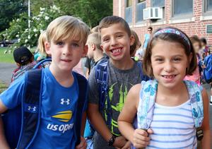 Three Franklin students pose for a picture during first week of school.