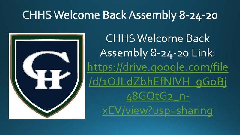 Welcome Back Assembly 8-24-20
