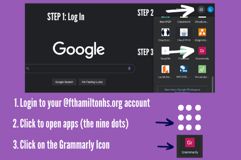 An image of directions to access FHHS grammarly