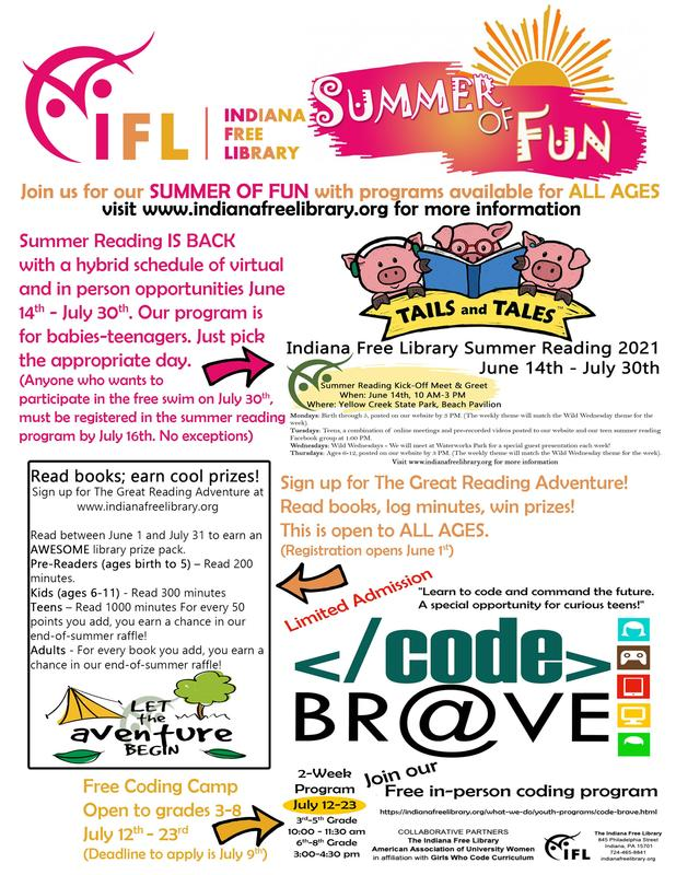 Indiana Free Library Summer Reading Flyer