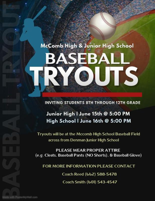 Baseball Tryouts for 8th - 12th grades June 15 & 16 at 5 PM