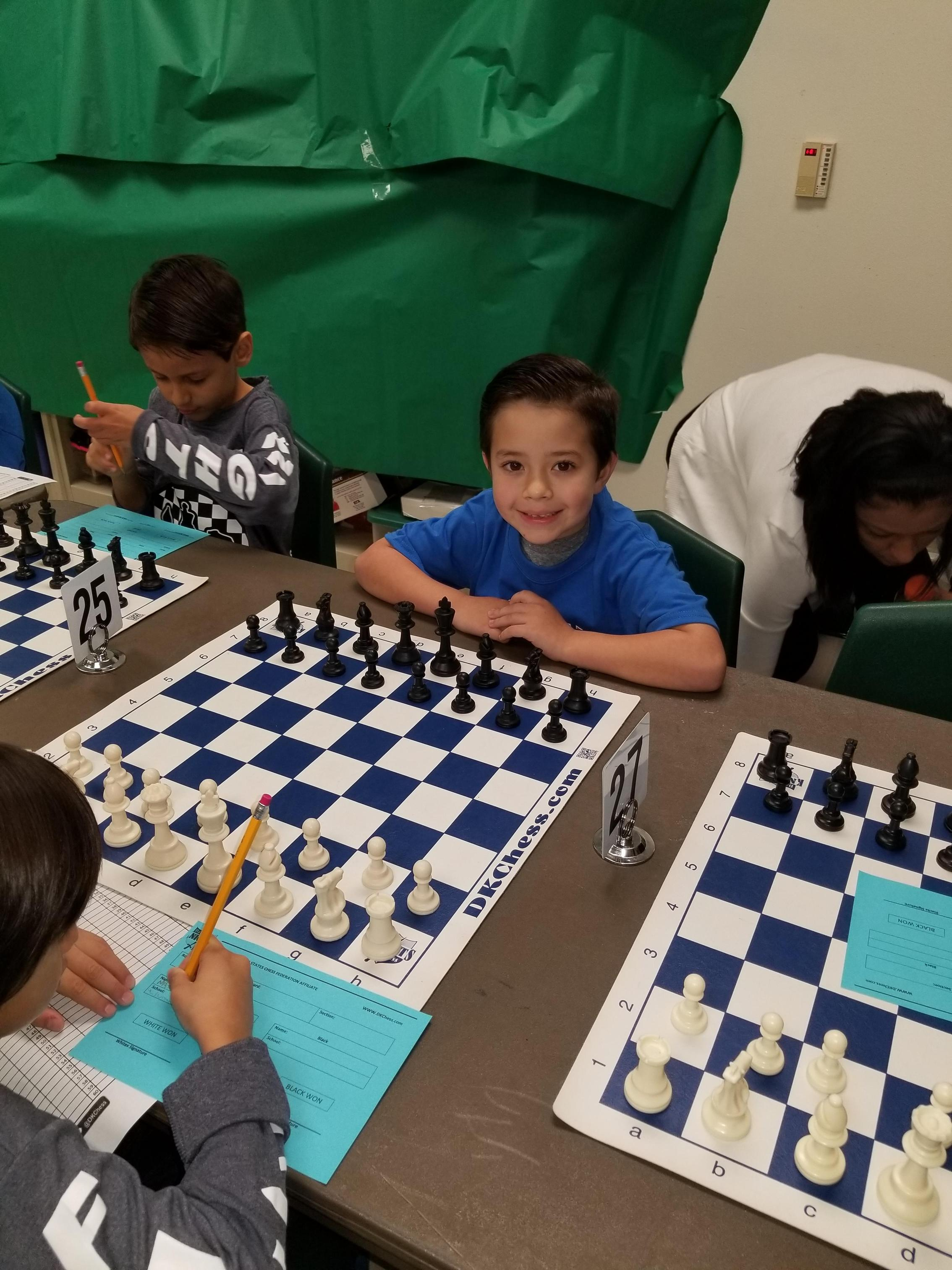 Student playing chess.