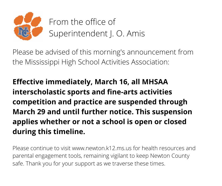 Announcement No Sports Through March 29