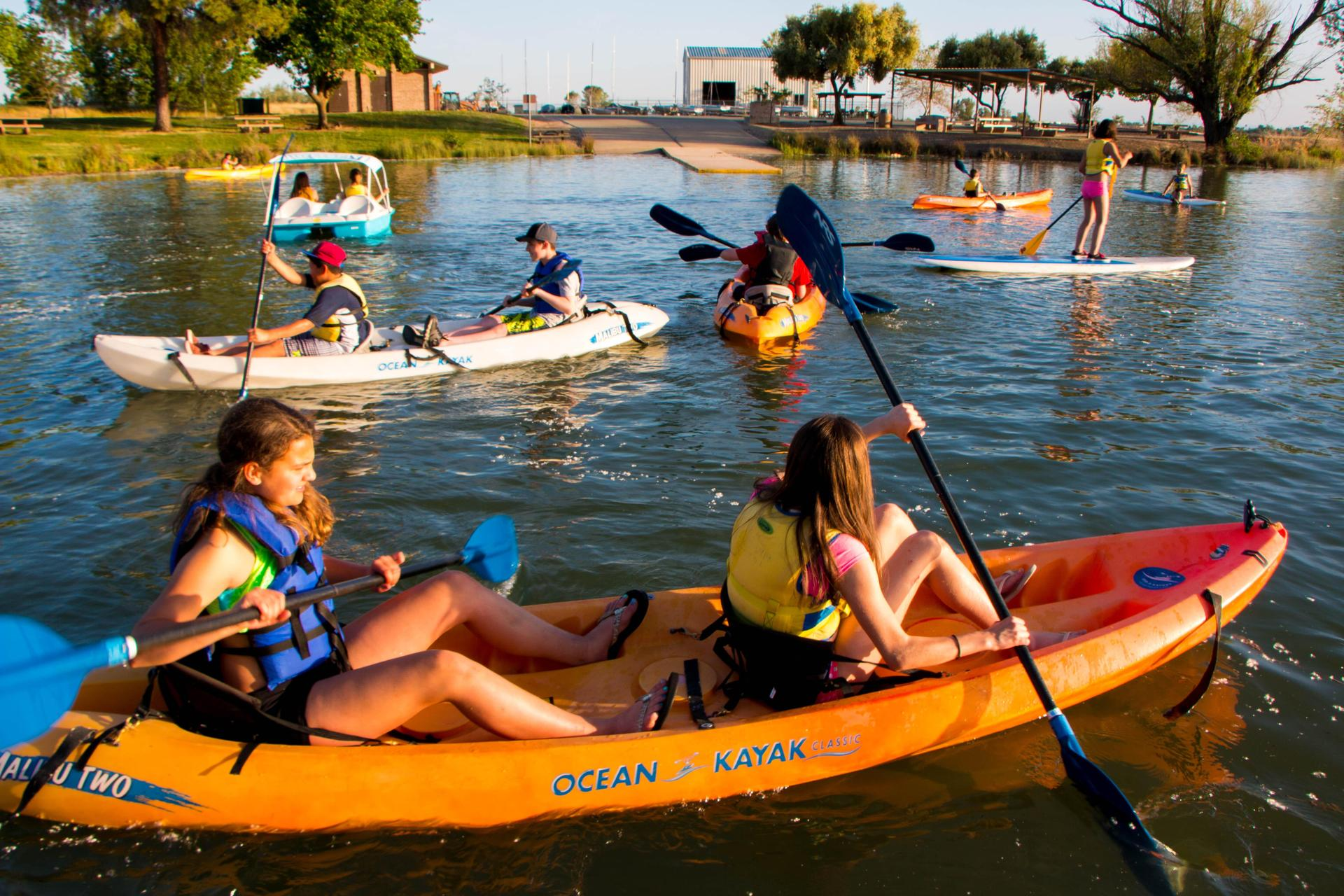 Students Kayaking during their first night on the road