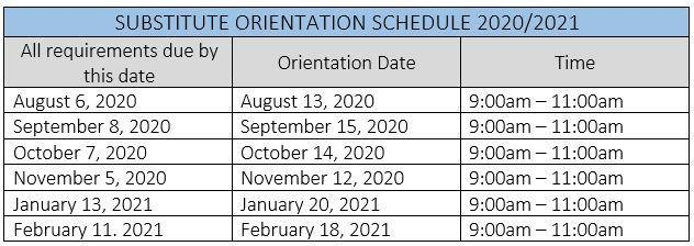 Substitute Orientation Schedule