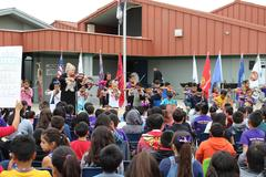 Biola-Pershing students performing at the Veteran's Day Assembly.