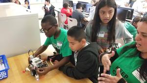 Almost 300 students in grades 4-8 competed in robotic competitions at PUSD's Robotics Field Day on March 23, 2019.